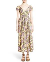 RED Valentino   Yellow Floral Print Stretch Poplin Dress   Lyst