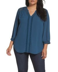 Sejour | Blue Lace Inset Split Neck Blouse | Lyst