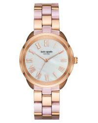 kate spade new york - Pink Crosstown Bracelet Watch - Lyst
