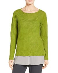 Eileen Fisher   Green Bateau Neck Organic Linen Sweater   Lyst