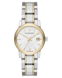 Burberry | Metallic Medium Check Stamped Bracelet Watch | Lyst