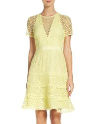 Adelyn Rae | Yellow Illusion Fit & Flare Dress | Lyst