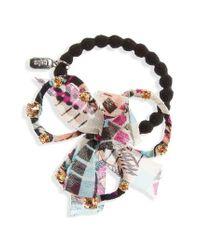 Tasha | Pink Crystal Bow Ponytail Holder | Lyst