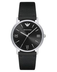 Emporio Armani | Black Leather Strap Watch for Men | Lyst