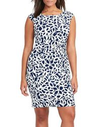 Lauren by Ralph Lauren | Blue Floral Jersey Ruched Sheath Dress | Lyst