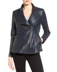 Via Spiga | Blue Asymmetrical Zip Leather & Ponte Jacket | Lyst