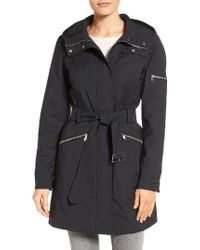 Vince Camuto | Black Hooded Belted Trench Coat | Lyst