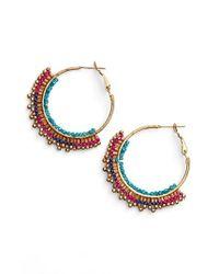 Panacea | Metallic Beaded Hoop Earrings | Lyst