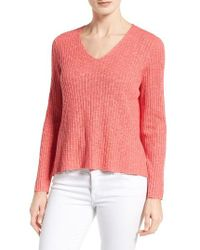 Eileen Fisher | Pink Organic Linen & Cotton V-neck Sweater | Lyst