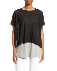 Eileen Fisher | Black Hemp Blend Boxy Sweater | Lyst