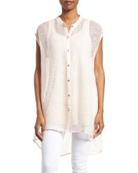 Eileen Fisher | Multicolor Linen Blend Sheer Mandarin Collar Tunic | Lyst