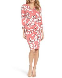 Adrianna Papell | Red Faux Wrap Dress | Lyst
