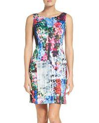 Adrianna Papell | Blue Print Scuba A-line Dress | Lyst