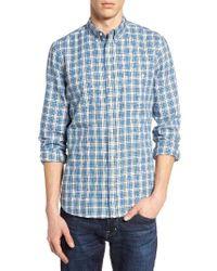 French Connection | Blue Slim Fit Tartan Sport Shirt for Men | Lyst