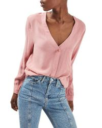 TOPSHOP | Pink Crop Slouch Pocket Blouse | Lyst
