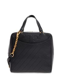Tory Burch | Black Chevron Quilted Leather Satchel | Lyst