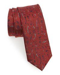 Lanvin   Red Shadow Jacquard Silk Skinny Tie for Men   Lyst