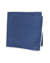 Lanvin | Blue Dot Silk Pocket Square for Men | Lyst