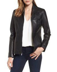 Cole Haan - Black Lambskin Leather Scuba Jacket - Lyst
