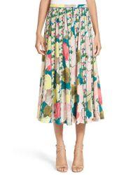 Lafayette 148 New York   Blue Adalia Pleated Floral Silk Skirt   Lyst