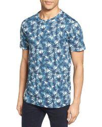 Ted Baker | Blue Retro Leaf Print T-shirt for Men | Lyst