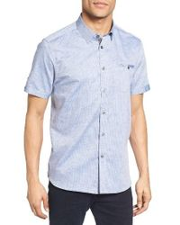 Ted Baker - Blue Caycay Mini Bobby Modern Slim Fit Sport Shirt for Men - Lyst