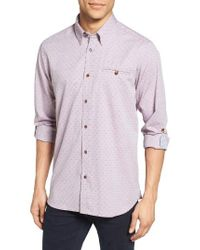 Ted Baker | Red Forray Extra Trim Fit Diamond Dobby Roll Sleeve Sport Shirt for Men | Lyst