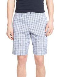 Original Penguin | Blue Slim Fit Plaid Shorts for Men | Lyst