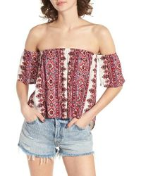 Billabong | Red Best Way Off The Shoulder Top | Lyst
