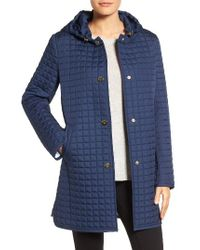 Ellen Tracy | Blue Quilted Topper With Removable Hood | Lyst