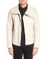 Lamarque   Black Funnel Neck Leather Jacket for Men   Lyst