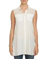1.STATE | White Sheer Yoke Sleeveless Tunic | Lyst