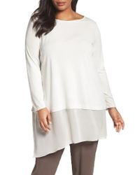 Eileen Fisher   White Stretch Silk Jersey & Crepe Tunic   Lyst