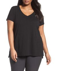 Eileen Fisher | Black V-neck Slub Organic Cotton Tee | Lyst