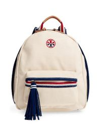 Tory Burch | Natural Preppy Canvas Backpack | Lyst