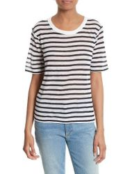 T By Alexander Wang | White Stripe Tee | Lyst
