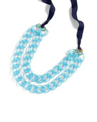 J.Crew - Blue Double Strand Lucite Chain Necklace - Lyst