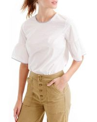 J.Crew   White Tipped Button Back Bell Sleeve Top   Lyst