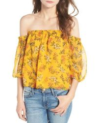 Ella Moss   Yellow Poetic Garden Off The Shoulder Silk Blouse   Lyst