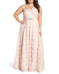 Adrianna Papell | Pink Embellished Petal Chiffon Ball Gown | Lyst