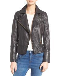 Ted Baker | Black Minimal Leather Biker Jacket | Lyst