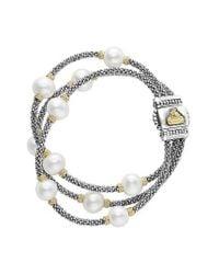 Lagos | Metallic Luna Pearl Caviar Multistrand Bracelet | Lyst