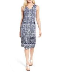 Lucky Brand | Blue Batik Print Midi Dress | Lyst