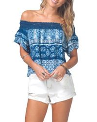 Rip Curl | Blue Dream On Off The Shoulder Top | Lyst