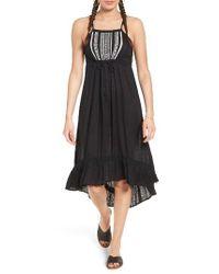 Rip Curl | Black Embroidered Midi Dress | Lyst