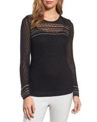 NIC+ZOE - Black Starboard Cross Back Sheer Knit Top - Lyst