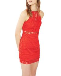 TOPSHOP | Red Crochet Trim Lace Dress | Lyst