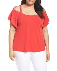 MICHAEL Michael Kors | Red Studded Off-the Shoulder Top | Lyst