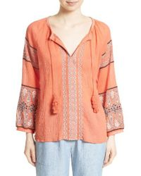 Joie - Orange Nelida Embroidered Cotton Blouse - Lyst