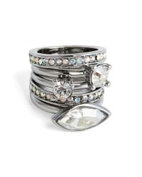 St. John - Metallic Swarovski Crystal Cocktail Ring - Lyst